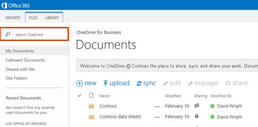 Petikan skrin Kotak Pertanyaan OneDrive dalam Office 365.