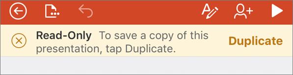 Menunjukkan pemberitahuan Baca Sahaja selepas membuka fail ODF dalam PowerPoint for iPhone