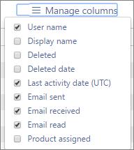 Laporan Office 365 - menguruskan lajur untuk Laporan aktiviti e-mel