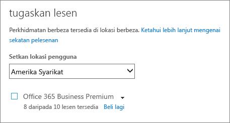 Petikan skrin menu Peruntukkan Lesen tanpa langganan dipilih.