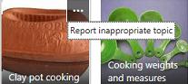 Klik perintah Lebih Banyak (…) di penjuru kanan atas sebarang item untuk melaporkan kandungan sebagai tidak sesuai.