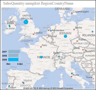 Peta Power View Eropah dengan gelembung yang menunjukkan amaun jualan