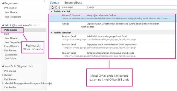 Selepas anda mengimport e-mel ke peti mel Office 365 anda, ia akan muncul dalam dua tempat.