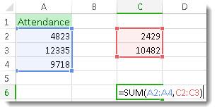 Menggunakan SUM dengan dua julat nombor