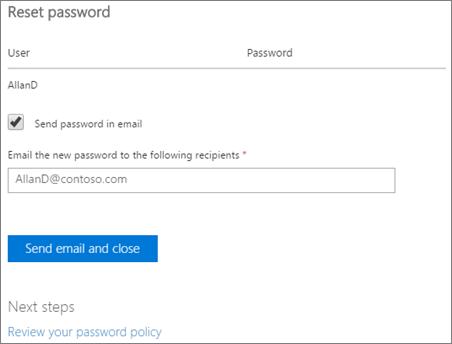 Petikan skrin: Hantar mengeset semula kata laluan pemberitahuan e-mel kepada pengguna