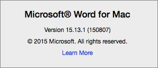Petikan skrin menunjukkan halaman tentang Word pada Word for Mac