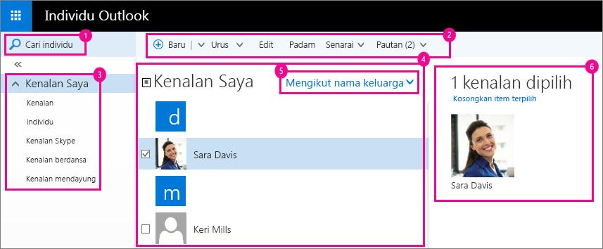 Petikan skrin halaman Individu Outlook.