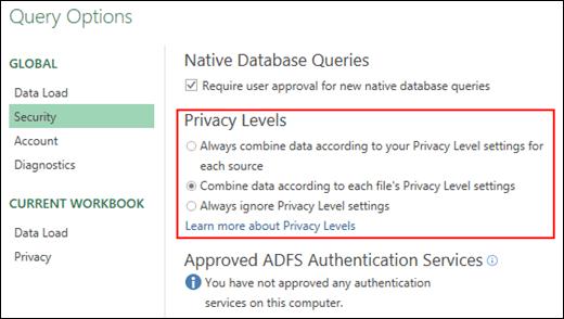 Power Query - Setkan untuk menyahdayakan prom Aras Privasi pada aras mesin (termasuk Kunci Daftaran)