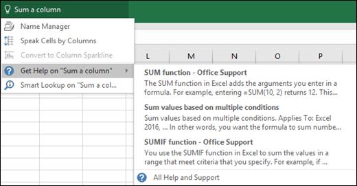 Klik kotak Beritahu Saya dalam Excel dan taipkan perkara yang ingin anda lakukan. Beritahu Saya akan cuba membantu  menyiapkan tugas tersebut.