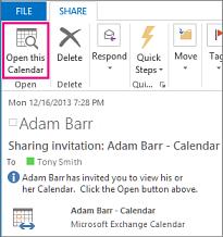 Buka butang Kalendar ini pada jemputan perkongsian kalendar yang diterima