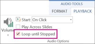 Menggelung audio sehingga ia berhenti