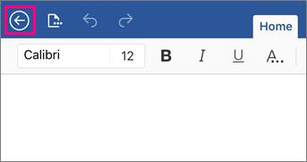 Menunjukkan butang kembali dalam Word 2016 for iPad.