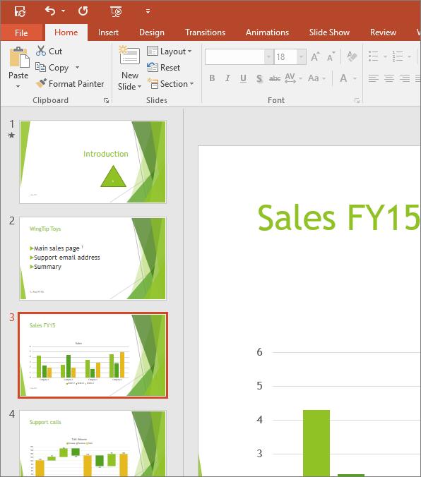 Menunjukkan Anak Tetingkap Slaid dengan slaid ketiga dipilih dalam PowerPoint
