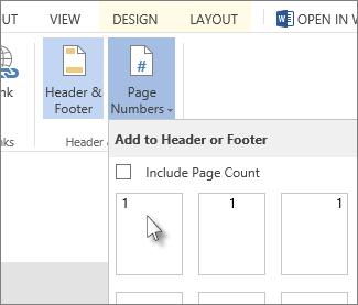 Imej UI untuk menyelitkan nombor halaman dalam pengepala atau pengaki.