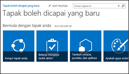 Petikan skrin laman SharePoint baru menunjukkan jubin yang digunakan untuk menyesuaikan laman