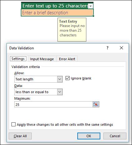 Contoh Pengesahihan data dengan kepanjangan teks terhad