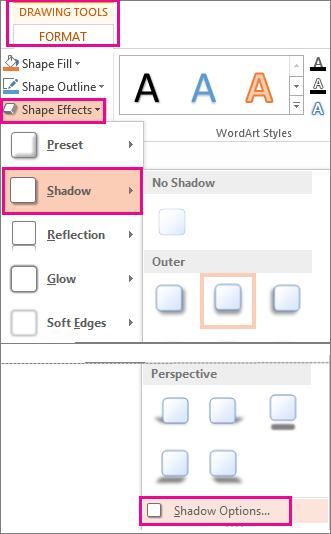Opsyen Bayang dicapai dari tab Format Alat Melukis, Kesan Bentuk, kemudian klik Bayang