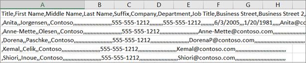 Contoh fail .csv yang disimpan dalam .xls format.