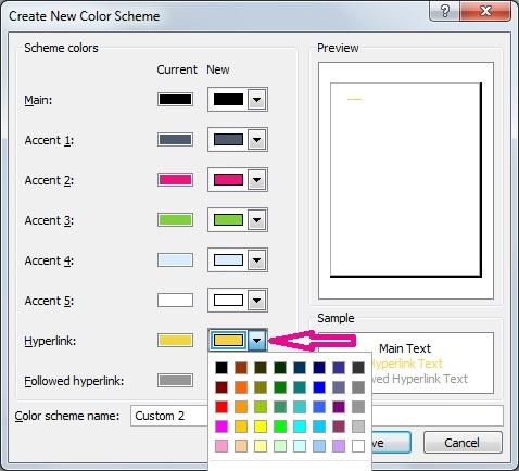 Cipta skema warna Publisher baru untuk menukar warna hiperpautan