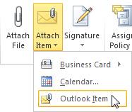 Melampirkan perintah Item Outlook pada reben
