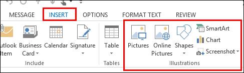Outlook 2013 Selitkan Gambar