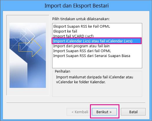 Pilih Import fail iCalendar atau vCalendar.