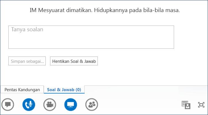 Petikan skrin Penyampai Soal dan Jawab
