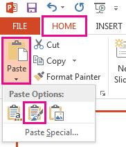Daripada menu tampal, pilih ikon Simpan pemformatan sumber.