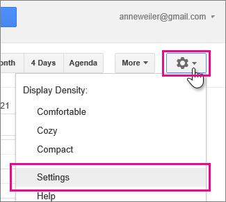 kalendar google - seting - seting