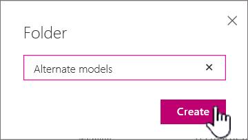 Dialog folder dengan butang cipta diserlahkan