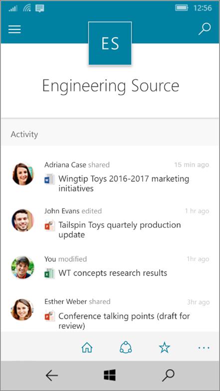Windows 10 Mobile menunjukkan aktiviti, fail, senarai dan navigasi