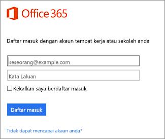 Halaman daftar masuk portal.office.com
