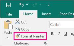 Menunjukkan butang Pelukis Format dalam Publisher