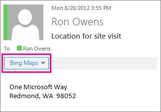 Mesej Outlook menunjukkan aplikasi Peta Bing