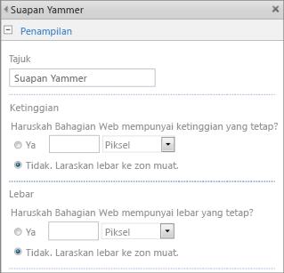 Petikan skrin halaman seting bahagian aplikasi suapan Yammer dengan seksyen lebar dan ketinggian diserlahkan