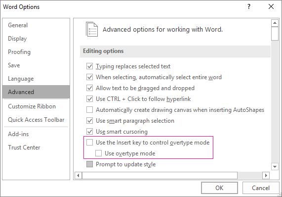 Kotak dialog Opsyen Word lanjutan, di bawah opsyen pengeditan, gunakan kotak semak mod taip tindih