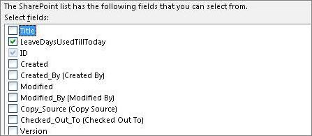Pilih senarai medan