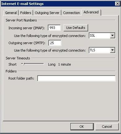 Petikan skrin tab Lanjutan dalam kotak dialog Seting E-mel Internet.
