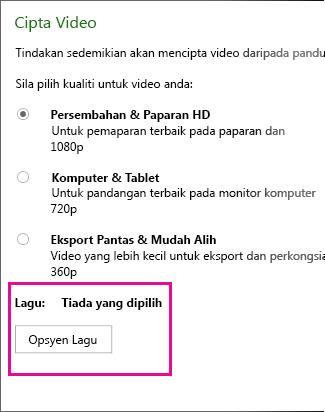 Kotak dialog Cipta Video