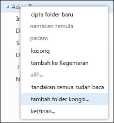 Opsyen menu klik kanan Tambah folder kongsi Outlook Web App