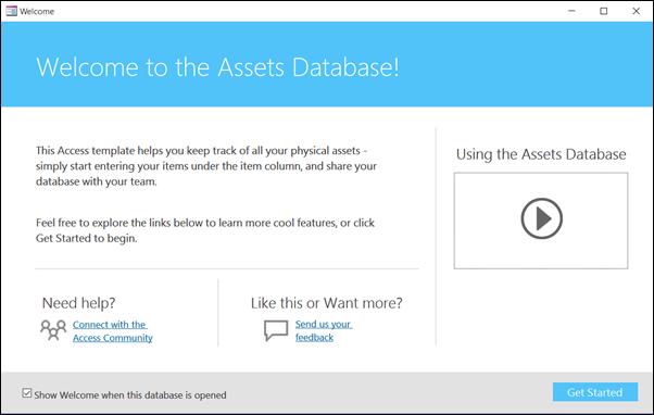 Borang mari bermula dalam templat pangkalan data Aset Access
