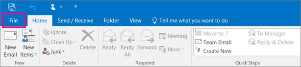 Beginilah rupa reben dalam Outlook 2016.