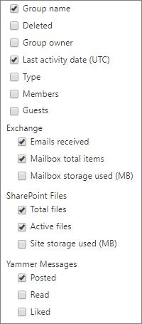 Kumpulan Office 365 melaporkan - Pilih lajur