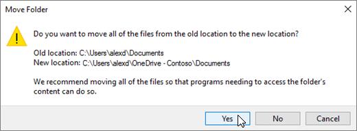 Petikan skrin yang menunjukkan amaran yang muncul apabila anda klik pilih Folder dalam Pilih kotak dialog destinasi.