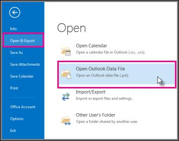Membuka fail data Outlook