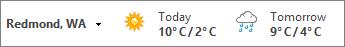 Bar cuaca memaparkan suhu dalam Celsius