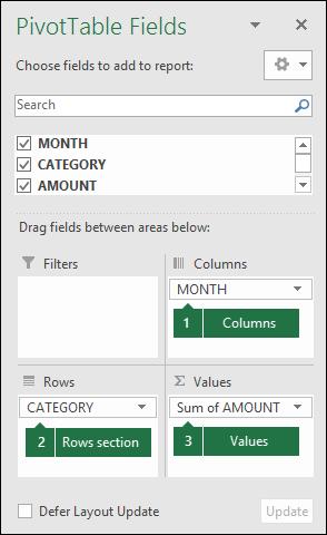 Contoh dialog senarai medan jadual pangsi Excel