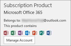 Menunjukkan akaun e-mel yang dikaitkan dengan Office