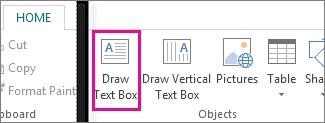 Petikan skrin kotak teks Lukis dalam Publisher.
