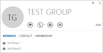 Petikan skrin tab ahli pada kad kenalan Outlook untuk Kumpulan yang bernama ujian Kumpulan. Kumpulan sub 1 dan 2 Kumpulan Sub ditunjukkan sebagai ahli.